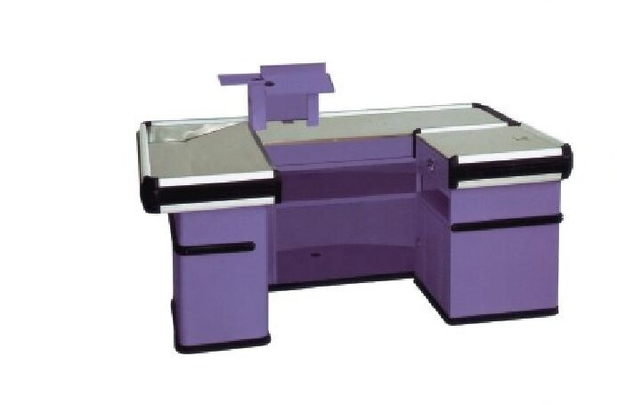 Grocery Store Checkout Counter Stainless Electrastatic Spray Cashier Desk