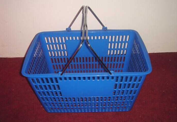 Store Plastic Shopping Baskets With Handles Used Double Metal Handle