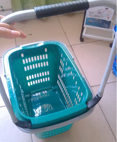 Multi - Functional 4 Wheel Shopping Trolley Plastic Mesh Supermarket Cart