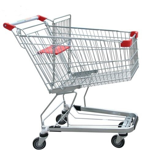 Unfolding Grocery Store Shopping Carts Four Swivel Wheels Zinc Plated