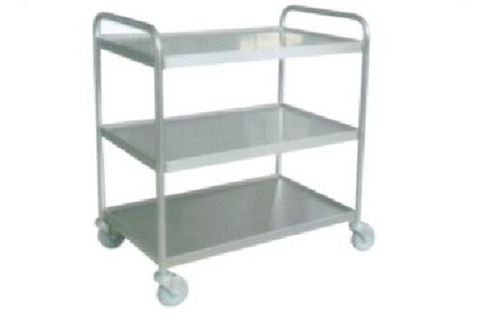 3 Layers Stainless Steel Storage Shelves Hand Trolley Cart Supermarket Equipment