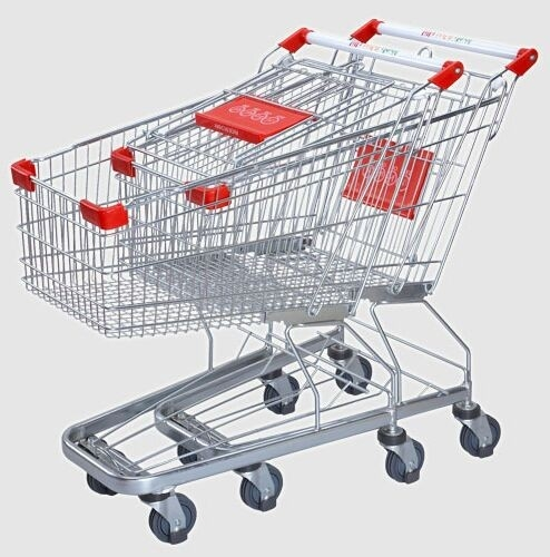 "Supermarket Steel Wire Shopping Trolley Cart With 4"" PU Wheels"