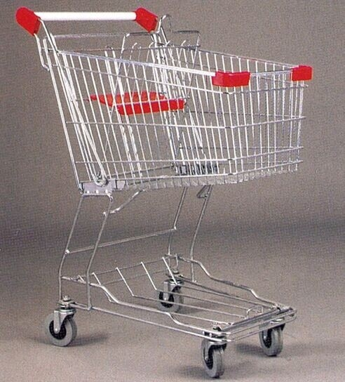 Mini Steel Mesh Supermarket Shopping Cart Zinc Plated 60 Litres