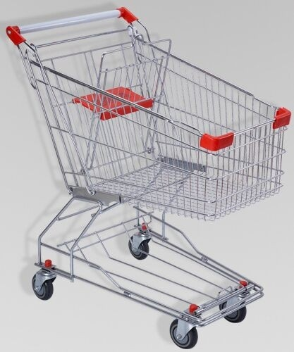 150L Large Elderly Supermarket Metallic Shopping Cart With Two Tier Wheels