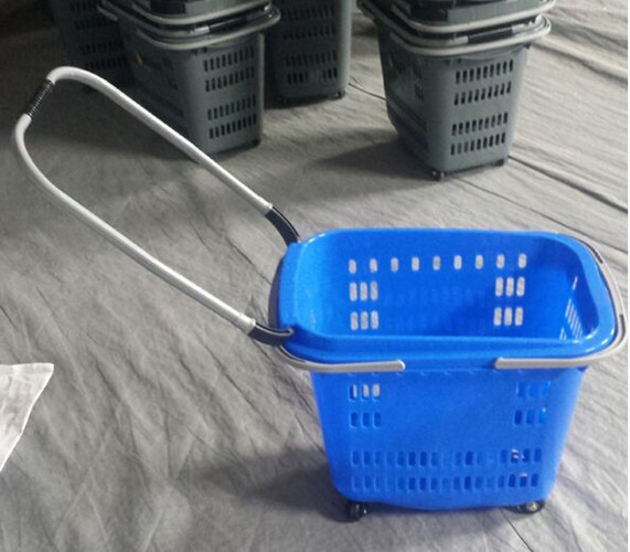 Aluminum Alloy Pull Rod Folding Movable Shopping Basket Plastic Baskets With Handles