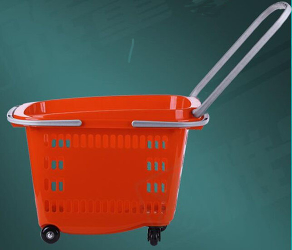 Portable Rolling Shopping Baskets With Handles , Wear Resistance Basket With Wheels For Grocery