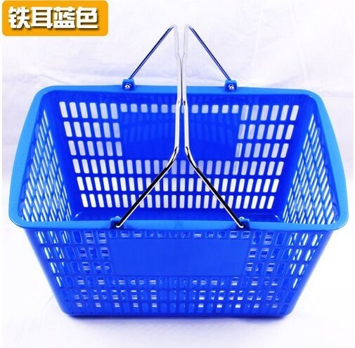 Blue / Red Shopping Baskets , Stacking Carry Style Retail Shopping Baskets
