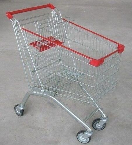 Wire Steel Store4 Wheel Shopping Trolley / Retail Hand Push Wheeled Shopping Basket