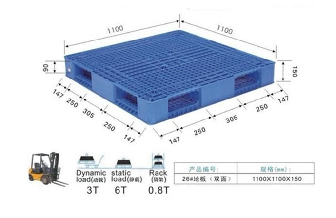 Stacking Double Face Heavy Duty Plastic Pallets For Warehouse And Shipping