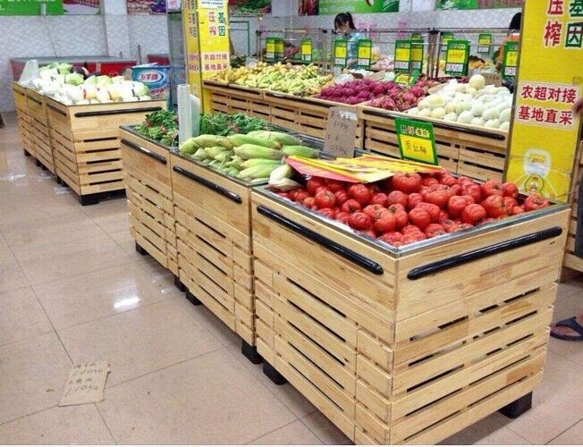 Custom grocery Store / Supermarket Wooden Display Rack L1000*W1000*H850 mm