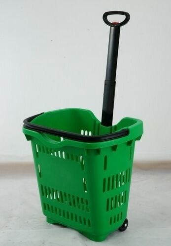 Green Plastic Hand Shopping Rolling Basket / Durable Supermarket Basket Cart