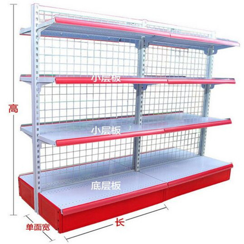 Double Sided Wire Mesh Panel Store Shelf / White Storage Baskets SGS ISO