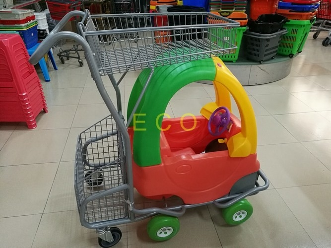 Hand Push Plastic Kids Shopping Carts With Castors , Movable Store Wire Mesh Basket Trolley