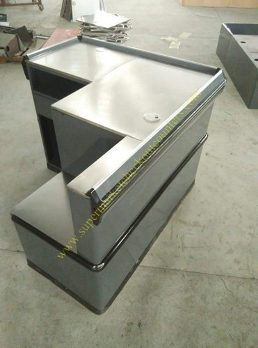 Grey Mini Express Checkout Counter With Add On Counter For Convenient Store