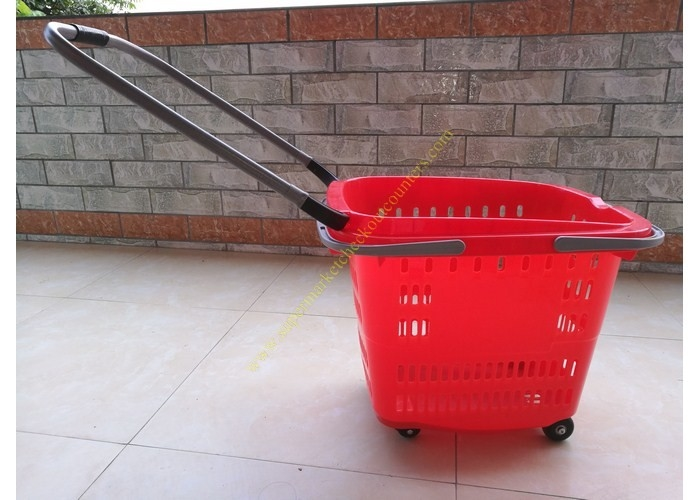 Stackable Plastic Shopping Basket With Wheels For Grocery / Supermarket SGS