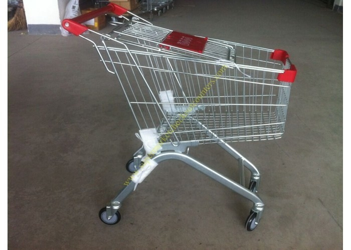Supermarket Push Cart Retail Grocery Metal Wire Shopping Trolley Cart With Powder Coated