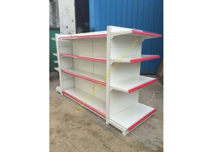 Double - sided Supermarket Display Shelving Rack , Retail Shelving System