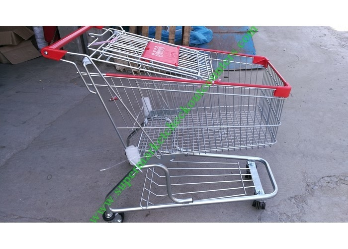 Zinc Plated Wire Shopping Trolley Cart 4 Wheels Heavy Loading For Store