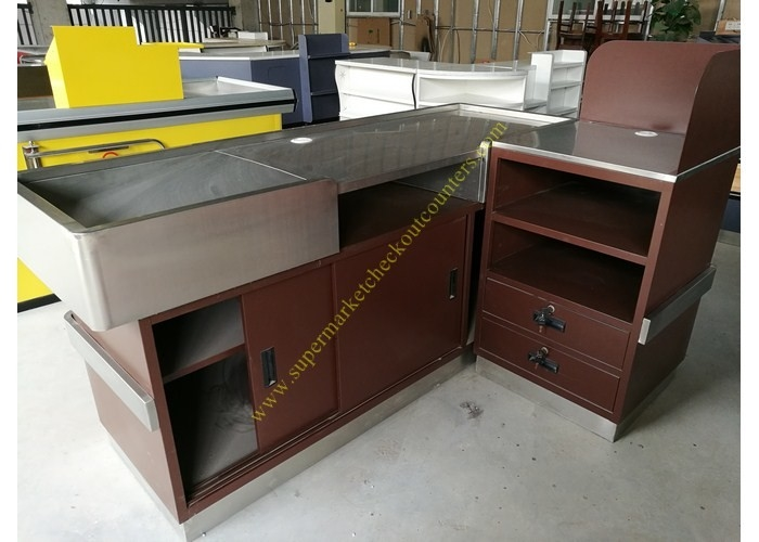 Stainless Steel Supermarket Checkout Counter / Store Non Electric Cashier Desk