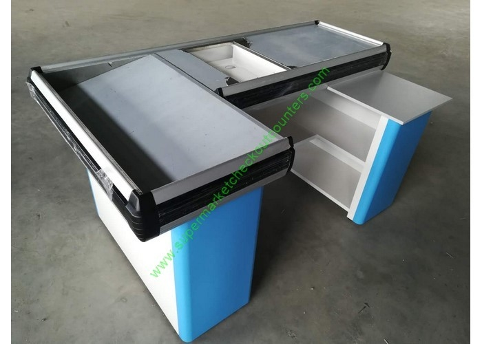 Customized Color Grocery Store Retail Cashier Desk / Stylish Cash Table For Hypermarket